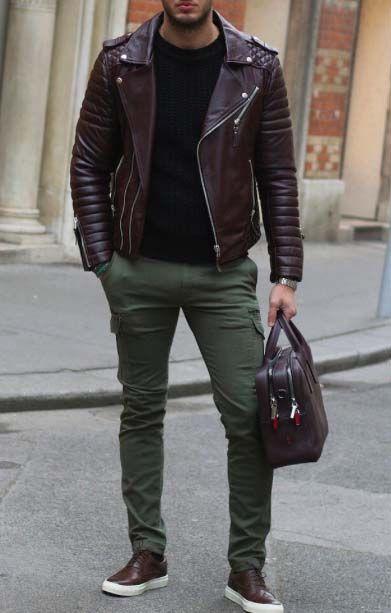 stylish men // mens fashion // leather bag // leather jacket // green // menswear // urban men // boys // city style //