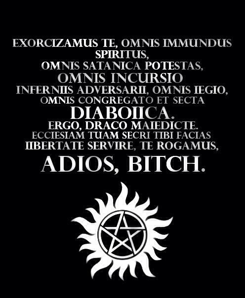 kerriean:  sakurasunshine:  jingle-bells-the-angels-fell:  Just incase there's a demon  always reblog the exorcism  Please Stand for the SPN National anthem.
