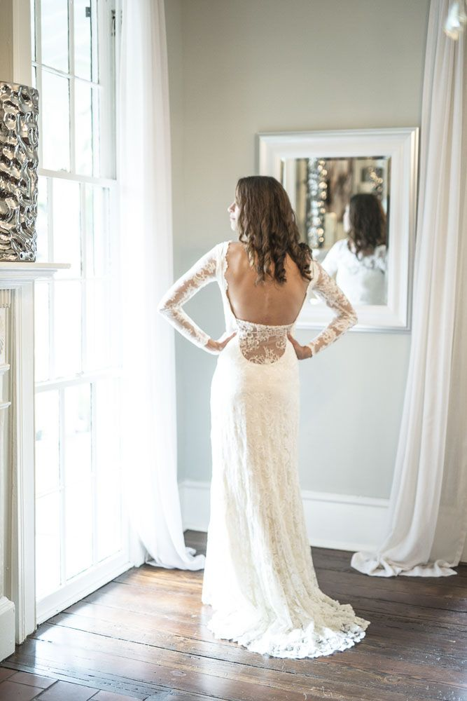 Olvi   1271   Long Sleeve Lace Wedding Dress For Rent On Borrowing  Magnolia. Try