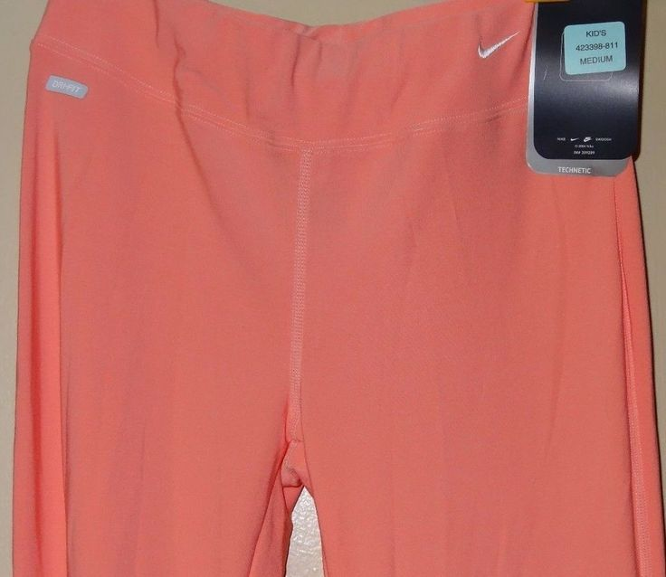 NIKE Pink Salmon Girls Size M 10 12 Dri Fit Yoga Pants Technetic NWT New Tags #Nike #Yoga #Everyday