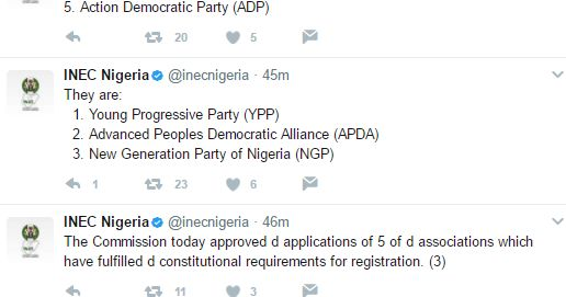The Independent National Electoral Commission INEC today registered five new political parties.  The new parties are Young Progressive Party (YPP) Advanced Peoples Democratic Alliance (APDA) New Generation Party of Nigeria (NGP) All Democratic Peoples Movement (ADPM) and Action Democratic Party (ADP). APDA is the new party floated by former AIT chairman Raymond Dokpesi and former Chairman of Labor party Dan Anyanwu two days ago.  http://ift.tt/2s5nkCQ news Politics