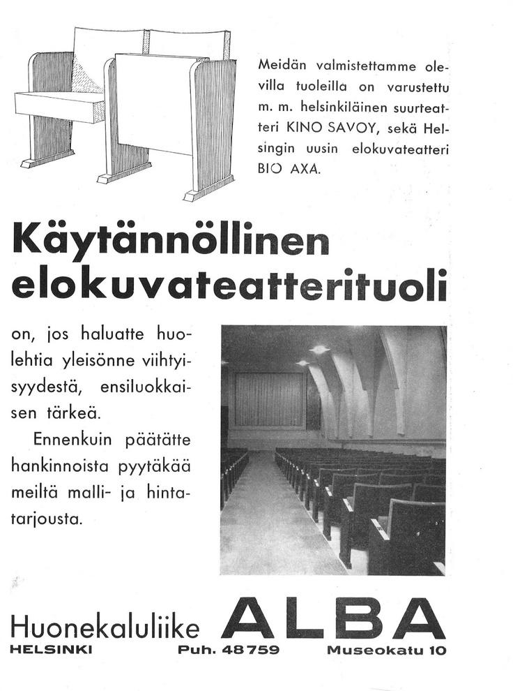 """ALBA:n mainos, Kinolehti 3/1938. Huonekaluliike Alba teki Bio AXAn alkuperäiset penkit, niin kuin myös """"suurteatteri Kino Savoyn"""" istuimet."""