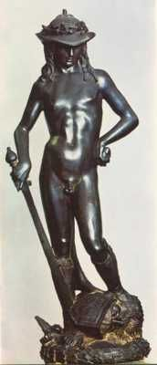 Made in the 1440′s, by Donatello (1386-1466), Bronze David is one of the most famous sculptures today. It is notable as the first unsupported standing work in bronze cast during the Renaissance period, and the first freestanding nude male sculpture made since antiquity. It depicts the young David with an enigmatic smile, posed with his foot on Goliath's severed head just after killing the giant. The youth is standing naked, apart from a laurel-topped hat and boots, bearing the sword of…