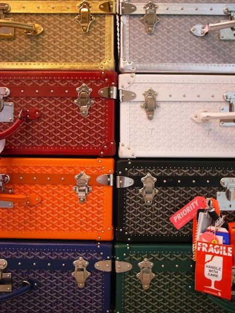 #7 Monogrammed Goyard Luggage Trunks for travelling in style... (Another fun daydreaming topic - MAKE YOUR OWN FASHION BUCKET LIST --- Must-Have classic items that you would like to own someday before you die)