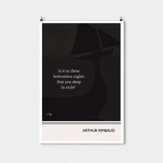 Illustration, Arthur Rimbaud Zitat, Fine Art Print & Kunst Plakate, nautische Kunst, Wand Kunst Boot Abbildung, Zeichnung Wal, Wal-Kunst