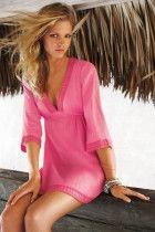 Rosy Plunge V Neck Beachwear