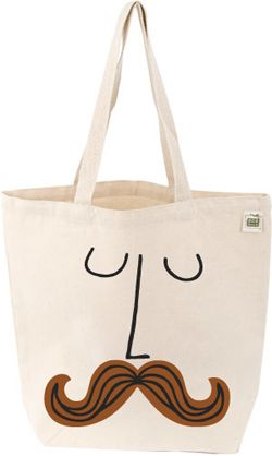 Mustache Face Natural Cotton Book Tote, $20 | http://www.babylit.com/shop-totes/shop-totes-madhatter/#