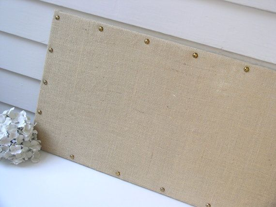 Long and Narrow BURLAP MAGNETIC BOARD 15 x 40 in Organization Bulletin Board with Hardwood Construction and Brass Upholstery Nail Head Tacks on Etsy, $189.00
