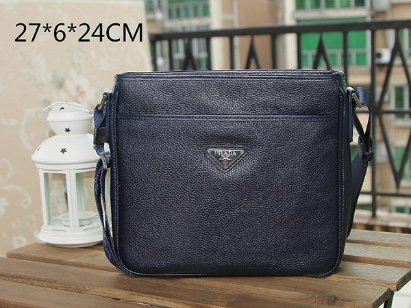Prada Grainy Leather Messenger Bag VA0797 Dark Blue