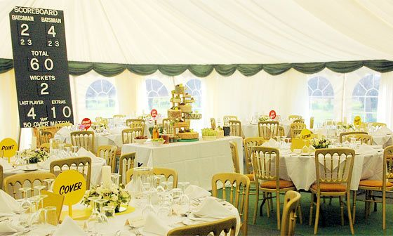 cricket party theme country marquee setting