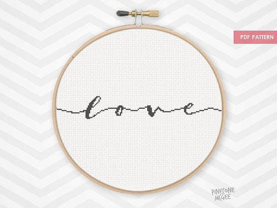 CURSIVE LOVE counted cross stitch pattern, quick saying, easy word typography, simple beginner xstitch inspirational baby nursery home pdf