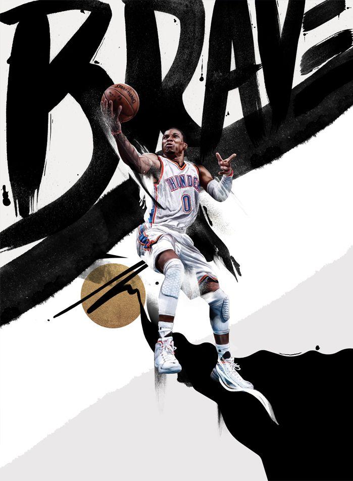 Sport illustration, NBA, basket, Westbrook, Thunder, Nike, deporte, adolfo correa.