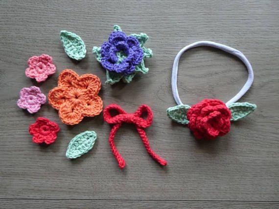 Baby girl crochet flower headband or hair tie