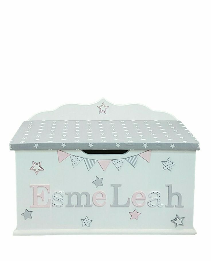 personalised toy box children baby kids first birthday Christmas bespoke handmade Dreambox toy boxes names bedroom nursery furniture storage parents pregnancy newborn new parents home style pink grey stars