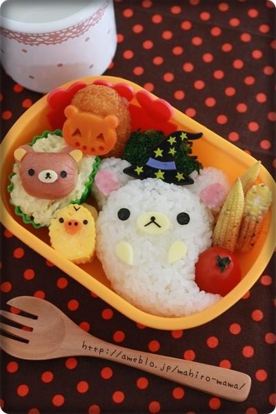 Halloween Rilakkuma Bento ☆〜(ゝ。∂)oh my god this is so freaking cute! >3