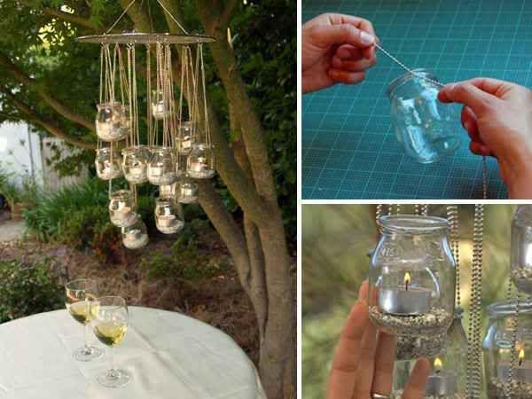 Baby food jar votive chandelier... just one idea for re-purposing your jars.