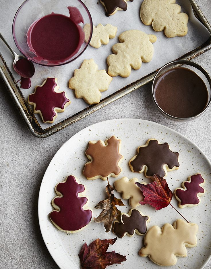 Break out the cookie cutters! These leaf designs are ideal for Autumn Iced Cookies. Choose earthy colors and spices for the icing.