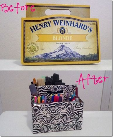 Upcycle a six pack box as desk caddy with duct tape