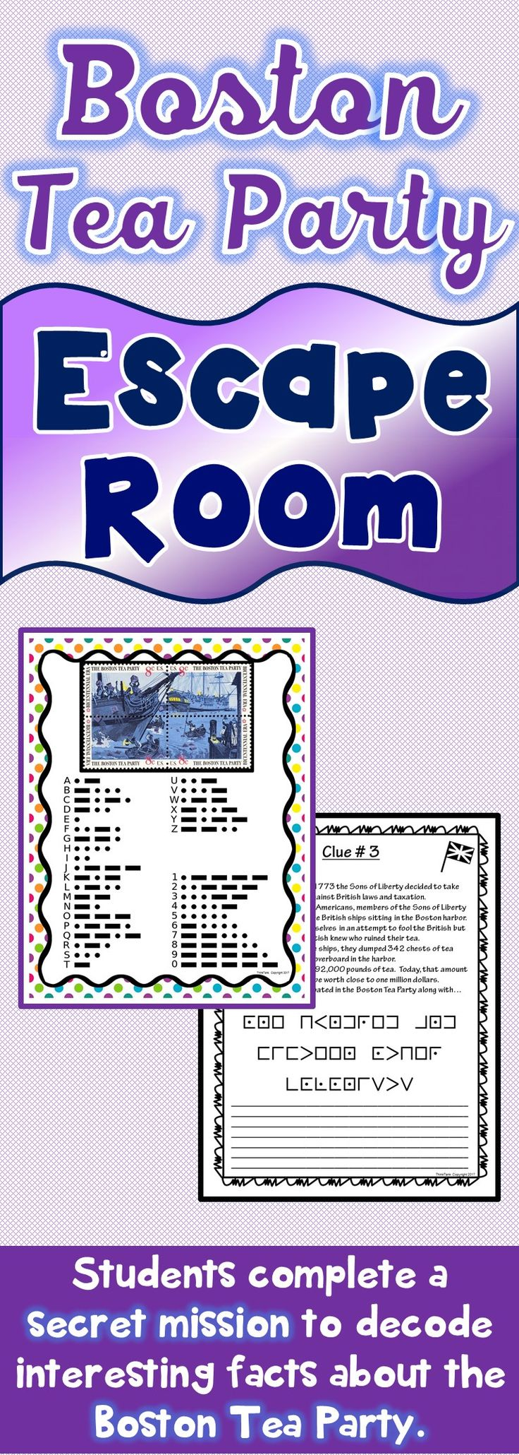 The Boston Tea Party Escape Room will take students on a secret mission around the classroom! This escape room has students decode interesting facts about the Boston Tea Party. This is the perfect resource to introduce the Revolutionary War or to review c
