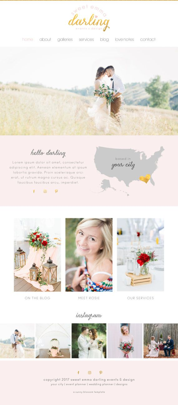 Wix Website design website template wedding by SunnyBlossomDesigns
