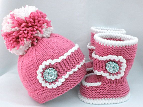 Knitting PATTERN Baby Set Baby Shoes Knitted Baby Hat Pattern