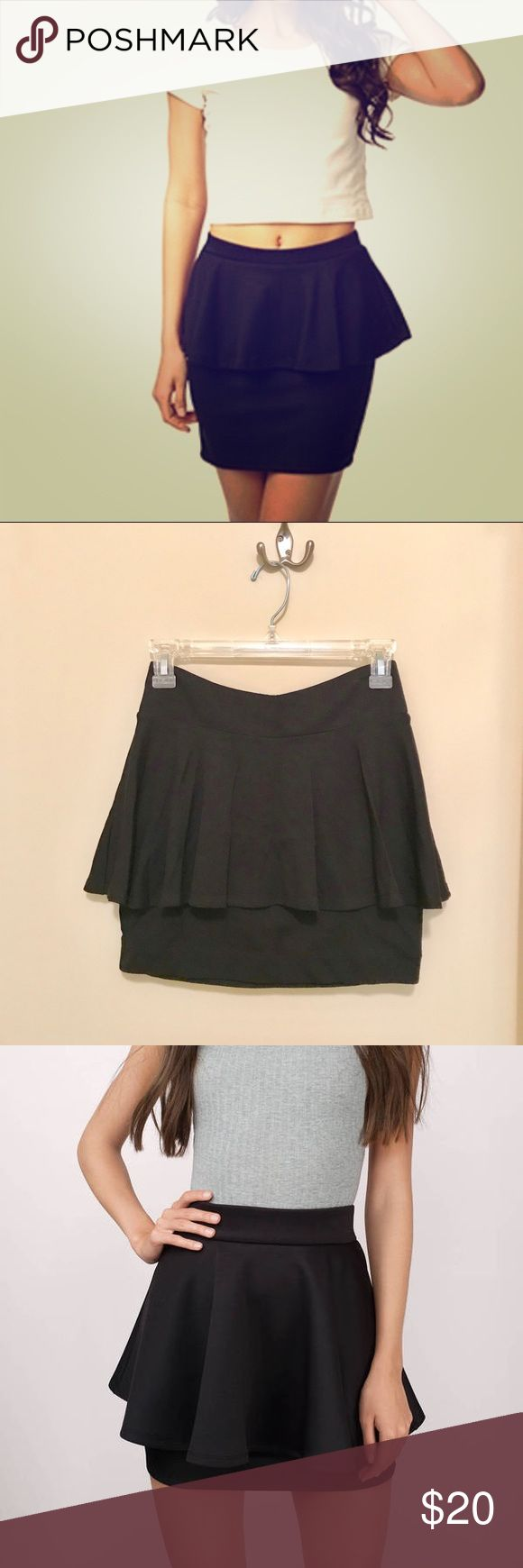 Black Peplum Skirt Black Peplum style skirt by Forever 21. Size small. Worn and washed once. Excellent condition. I have found some google photos for skirt but they not be exact see photos of actual item too! I would model mine but it no longer fits. Measurements in photos. Material: 62% rayon 35% polyester 3% spandex. Hand wash according to tag but it can machine wash on a gentle cycle. Forever 21 Skirts Mini