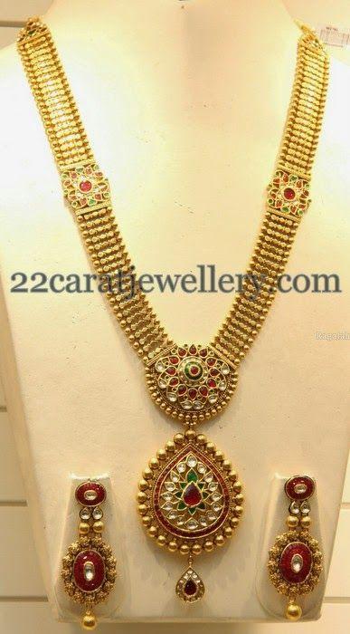 Jewellery Designs: Rubies Kundan Gold Haram