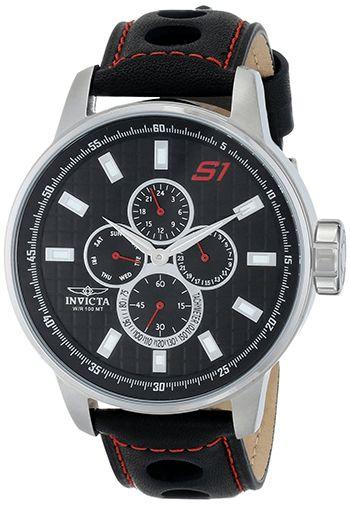 Montre Homme Invicta S1 Rally 16017 - Quartz Chronographe - Bracelet Cuir Noir - Cadran Acier inoxydable Argen - Jour et Date