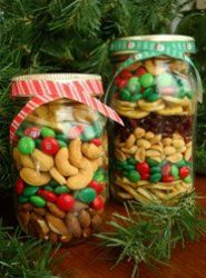 DIY Christmas gifts! M & M's and Nuts in jar with cute ribbon tied on. Sooo cute and easy!!!
