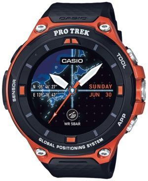 52a0d4cf2c8 CASIO MEN S PRO TREK BLACK AND ORANGE RESIN STRAP SMART WATCH 62MM  WSD-F20RG.  casio