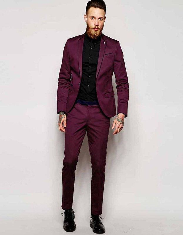 Burgundy Groom Tuxedos Notch Lapel Groomsmen Best Man Wedding Suits Prom  Suits (eBay Link) cbc60f6b6176