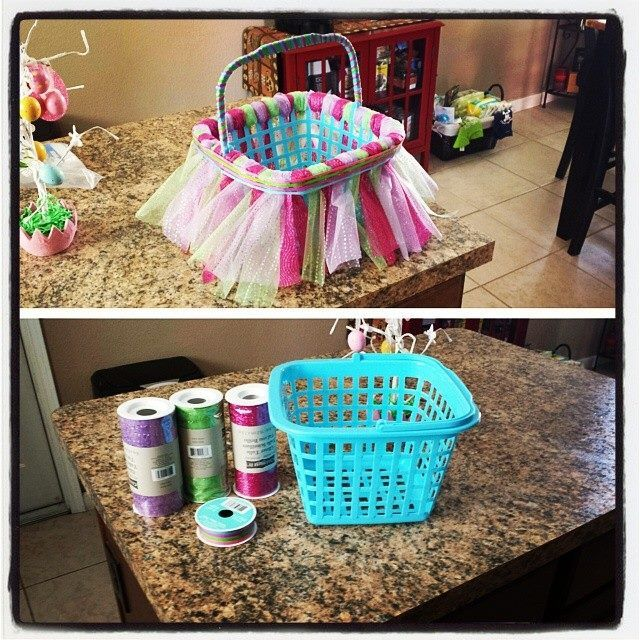 30 best baskets images on pinterest easter baskets layette and tutu easter basket basket from the dollar store tulle and ribbon from michaels craft negle Choice Image
