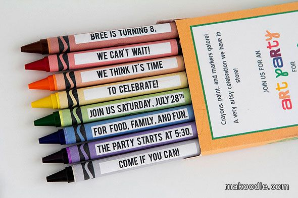 crayon labels template - art birthday party invite for kids including free