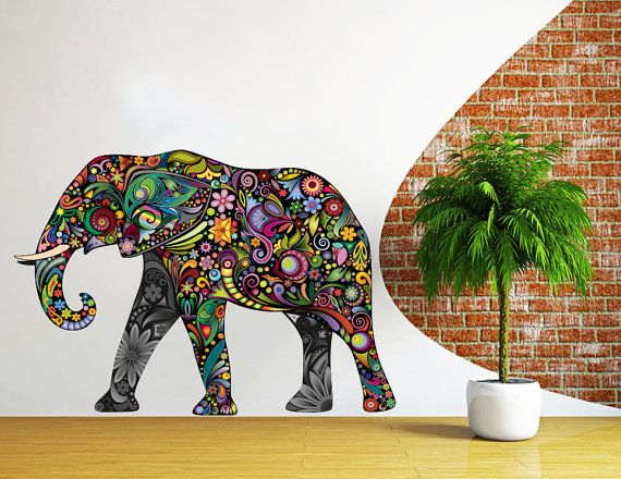 Elephant Wall Decals Full Color Indian Elephant Colorful