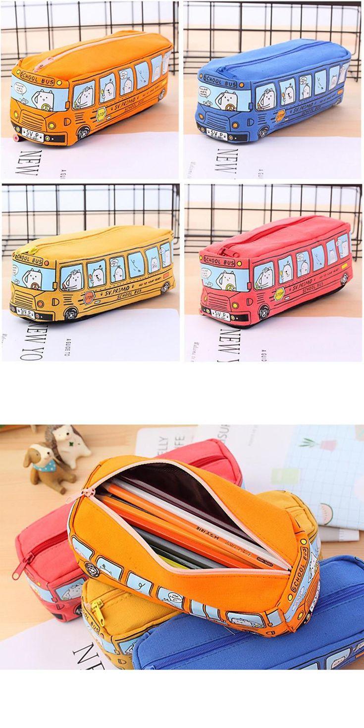 Creative Cartoon School Bus Stationery Pencil Box Storage Organizer Bag School Office Supply Student Pen Box