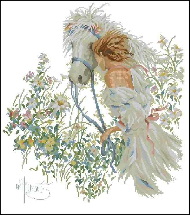 Девушка и лошадь – Вышивка крестом скачать схемы бесплатно без регистрации
