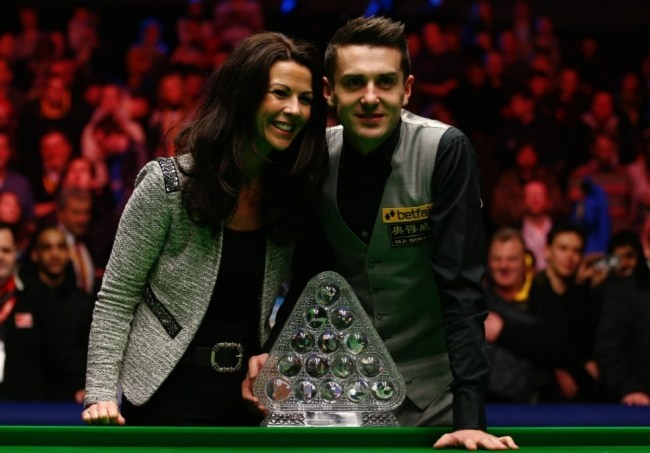 Mark Selby Celebrates With Wife Vikki, Betfair Masters 2013