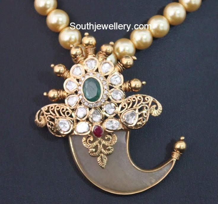 Polki Diamond Tiger Claw Pendant - Jewellery Designs