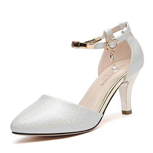 Femme Fashion Cuir Verni Pointu Talons Aiguilles Bride Cheville Chaussures Fête Escarpins OA