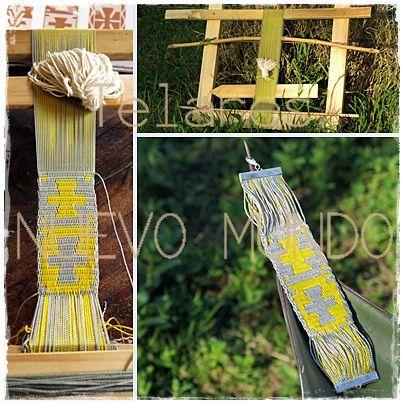 Mapuche Loom, complementary warp. Attempted textile jewel. /// Telar Mapuche, urdimbre complementaria. Intento de joya textil.