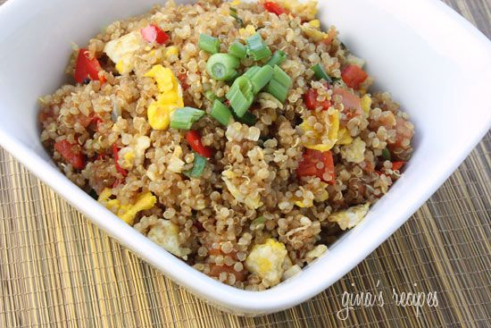 """Quinoa males a great alternative to rice. This quick dish was put together in minutes using leftover quinoa made earlier in the week. Quinoa expands to double it's size when cooking, leftovers can refrigerated to use throughout the week.    Enjoy this as an ovo-vegetarian main dish, or would be a great side dish with grilled chicken or shrimp.        Quinoa """"Fried Rice""""  Gina's Weight Watcher Recipes    As a side dish:  Servings: 5 servings • Serving Size: 1 cup • Old Points: 5 pts • Points+: 6 pts  Cal...: Rice Recipes, Fun Recipes, Rice Eatingcookingwel, Yummy Food, Comforter Food, Healthy Food, Dietquinoa Fries, Quinoa Fries Rice, Fried Rice"""