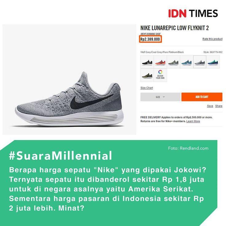 Presiden Joko Widodo kembali mencuri perhatian netizen karena penampilannya yang tidak biasanya. Kali ini, Presiden Jokowi mengenakan kemeja putih lengan panjang, celana jeans biru gelap dan sepatu sneakers merek Nike. . Dilansir dari website resminya Nike yaitu store.nike.com, Sepatu Nike milik Presiden Jokowi itu ternyata keluaran 2016. Seri Nike ini adalah LunarEpic Low Flyknit 2 yang didesain untuk lari. Sepatu ini terbuat dari material knit sehingga sangat nyaman untuk dipakai…