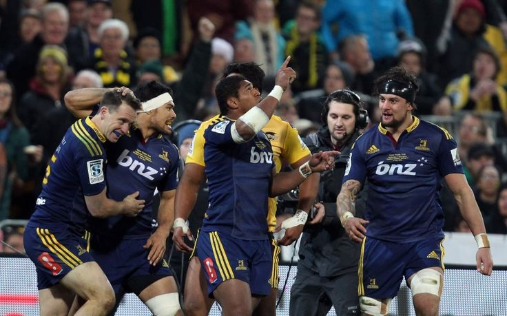 Waisake Naholo of the Highlanders celebrates his try during the Super Rugby Final match between the Hurricanes and the Highlanders at Westpac Stadium in Wellington. Photo by Getty
