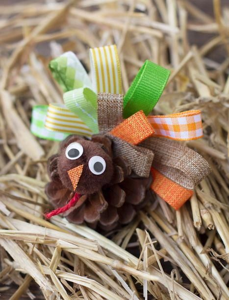 Scrap Ribbon Pine Cone Turkeys   AllFreeKidsCrafts.com