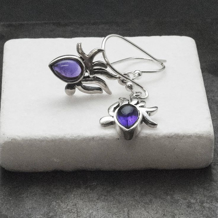 Small Amethyst Earrings, Sterling Silver and Purple Genuine Amethyst Dangle Earrings, Amethyst Jewelry, Amethyst Birthstone Gift
