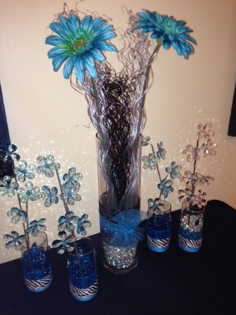 Cheer banquet centerpiece silver teal and black color