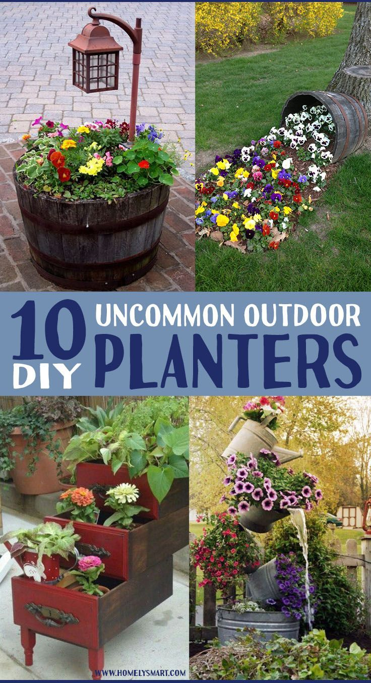 10 Unique Outdoor Planter Ideas To Diy Homelysmart Outdoor Planters Rustic Planters Yard Landscaping Simple