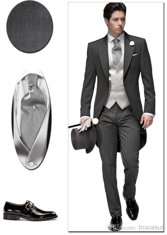 Tailored Elegant Bridegrom Gray Morning Suit Wedding Tuxedo For Men/Groomwear Suits IsetJacket+Pants+Tie+Vest+Flower+Pocketsqure Black Tie Suits Discount Mens Suits From Brucesuit, $118.75| Dhgate.Com