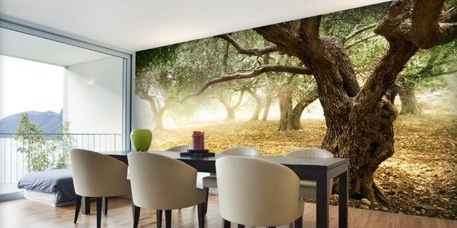 Dining room photo wallpaper wall mural diningroom for 3d wallpaper for dining room