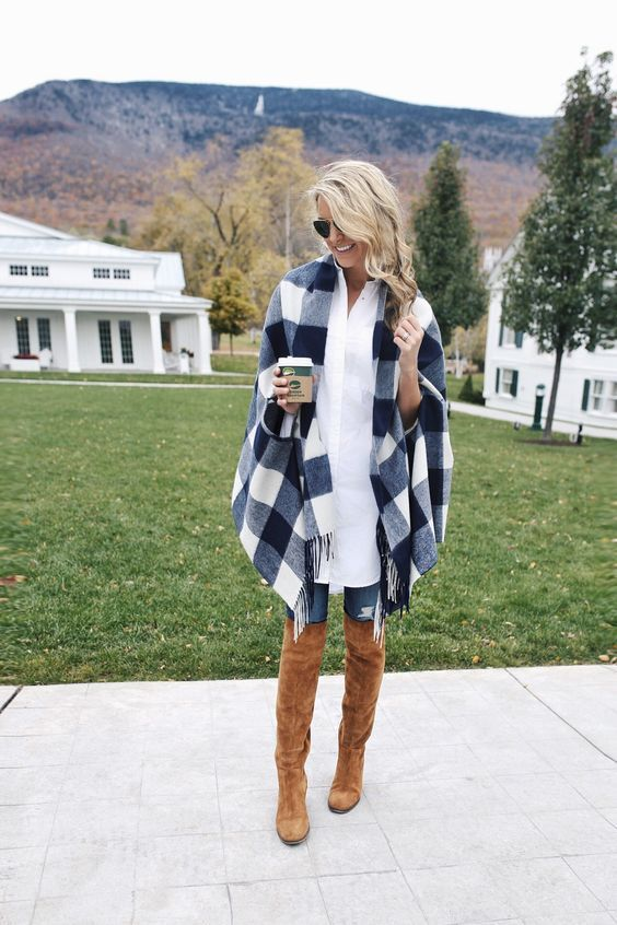 Navy plaid poncho and OTK boots. Great for winter weather.